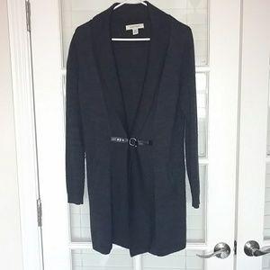 Long merino wool cardigan blazer w/ buckle closure